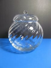 """VINTAGE OPTIC SWIRL HAND BLOWN GLASS ROUND CANDY BOWL WITH LID 7.5""""W x 8"""" T"""