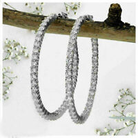 3.95ct Round Diamond Inside Out Hoop Earrings Real 14k White Gold For Women's