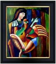 Framed Hand Painted Oil Painting, Repro Abstract of a Guitar Player, 20x24in