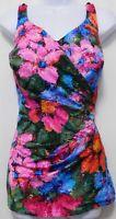 Roxanne One Piece Swimsuit Vintage USA Bra Sized 16/38 D Hawaiian Floral