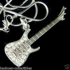 BIG w Swarovski Crystal Rock Music Musical ELECTRIC GUITAR Pendant Necklace Xmas