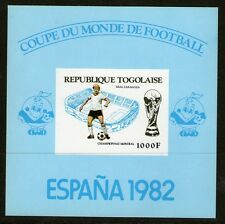 TOGO 1982 SPAIN FOOTBALL WORLD CUP IMPERFORATE PROOF CARD MINIATURE SHEET MNH