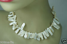 VINTAGE ? SILVER & MOTHER OF PEARL NUGGET FLAT CHIPS NECKLACE/CHOCKER SIGNED ROX