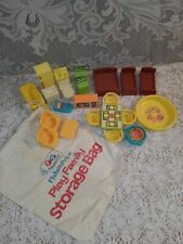 Vintage Fisher Price Little People Play Family Rooms Furniture & Storage Bag