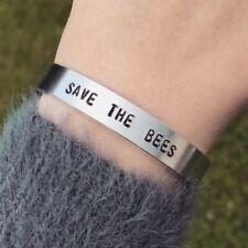 Save The Bees Bracelet Vegan Silver Cuff Bracelet Handmade Jewellery