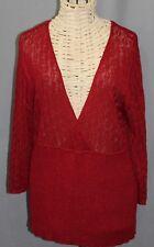 LANE BRYANT SZ 22/24 Metallic Raspberry Red Color Open Weave Sweater
