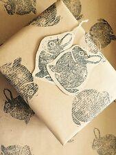 Stunning Original Hand Printed Gift Wrap & 2 Tags. Bunny. Rabbit. 70 X 50cm