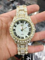 Fully Iced Watch Bling Rapper Simulate Diamond Gold Metal Band Luxury Men Club