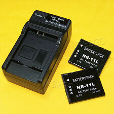 2x 680mAh NB-11L Battery Wall Travel Charger for Canon PowerShot ELPH 340 HS USA