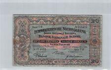 SVIZZERA 20 FRANCHI 1.5.1923 SERIE 7B N° 014410 PICK 33a RARO