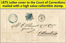 1875 Letter cover addressed to the Court of Corrections of Mantova, Italy. (25)