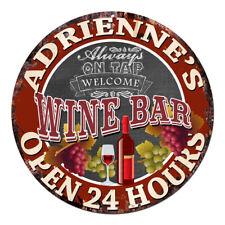 CWWB-0394 ADRIENNE'S WINE BAR OPEN 24 HOURS Chic Tin Sign Decor Gift Ideas