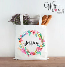FLORAL FLOWER WREATH NAME INITIAL TOTE SHOPPER SHOPPING BAG PERSONALISED