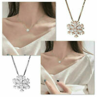 925 Sliver Snowflake Zircon Crystal Pendant Necklace for Women Jewelry Gift