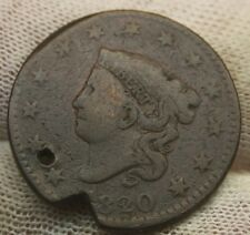 1820 LARGE CENT CORONET TYPE #X712 holed United States coin cent COPPER PENNY 1