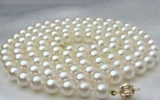 """New 8-9mm white round salt water Cultured pearl necklace 25"""" AAA"""