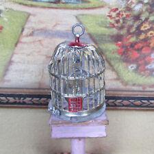 Antique Dollhouse BIRD CAGE Vtg Miniature Pet Birdcage Gold Soft Metal GERMANY