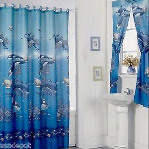 Shower Curtain Drapes + Bathroom Window Set w/ Liner+Rings  Aqua Blue Design