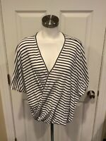 Eri + Ali Anthropologie White & Navy Blue Striped V-Neck Wrap Top, Size Small