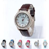 Luxury Women Diamonds Round Dial Fashion Casual Watch Leather Strap Quartz Watch