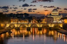 Modern Home Art Wall Decor Sunset in Rome Italy Oil Painting Printed On Canvas