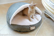Armarkat Faux Fleece Suede Cat Kitten Dog Pet Hooded Bed Laurel Green Beige