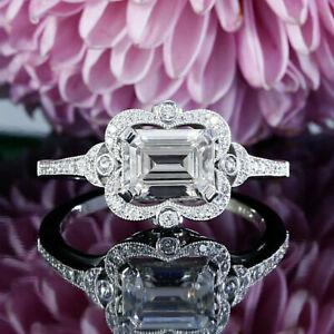 2.50Ct Emerald Cut VVS1 Diamond Halo Engagement Wedding Ring 14k White Gold Over