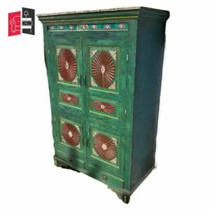 Vintage Indian Hand Painted Kitchen Cupboard Cabinet 165cm (MADE TO ORDER)