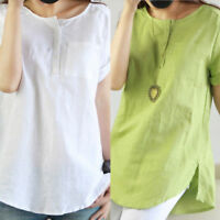 Women's Ladies Short Sleeve Blouse T Shirts Summer Loose Casual Linen Cotton Top