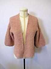 "MES DEMOISELLES PARIS Pink Knit ""Bora"" Short Sleeve Open Cardigan - Their Size 2"