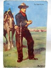 1910 ARTIST SIGNED POSTCARD THE NIGHT HERDER, COWBOY AND HORSE