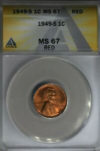 1949-S  .01  ANACS  MS 67 RED  Lincoln Head Cent, Lincoln One Cent