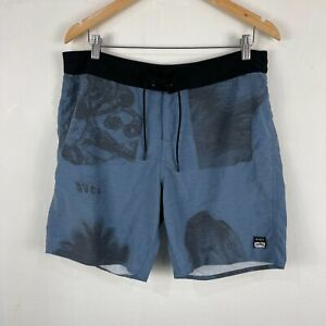RVCA Mens Board Shorts Size 34 Blue Drawstring