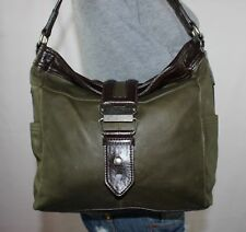 TIGNANELLO Lrg Green Brown Leather Shoulder Hobo Tote Satchel Slouch Purse Bag