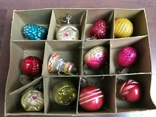 12) Vintage Antique Feather Tree Christmas Ornaments