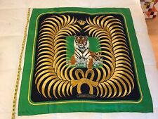 "Hermes Silk Tiger Scarf 35"" Square Vintage Navy Green"
