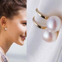 1 Pair Fashion Women Lady Elegant Pearl Crystal Rhinestone Ear Stud Earrings