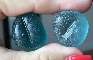 TWO FLAWLESS SURF TUMBLED VIRIDIAN PEACOCK TEAL & TEAL SHADED SEAGLASS W/GROOVES
