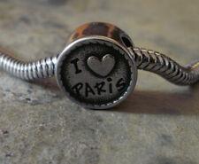 """Edelstahl Bead Element Rund """" I love Paris""""  Antiksilber Silber für Armband 1407"""
