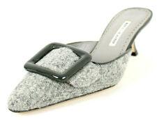MANOLO BLAHNIK Gray Tweed Patent Buckle MAYSALE Mid-Heel Mules 39.5 NEW