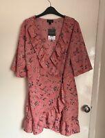 Topshop Pink Oriental Print Wrap Dress Size 16 BNWT