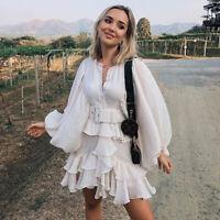 2020 Womens Designer Inspired Puff Sleeves Ruffle Layered Mini Dress
