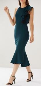 Coast-Victoria Ruffle Dress-Colour Teal-Size 12 or 14 or 16(Brand New With Tag)