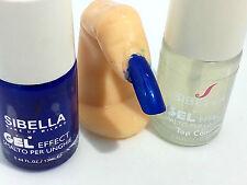 Gel Smalto Unghie Super Color Blu Elettrico + Top Coat Semipermanente
