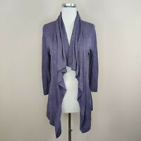 Theory Purple Draped Open Front Cardigan M Medium Viscose Linen Lightweight Knit