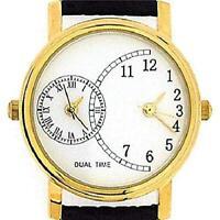 Gents Ladies Unisex Goldtone Dual Time Black Leather Strap Watch GOTW89a