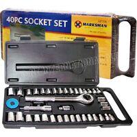 "Massive 40 Piece 1/4"" and 3/8"" Drive Socket Set - w / Reversible Ratchet Handle"