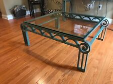 used coffee table Solid wrought Iron with beveled glass top . verde