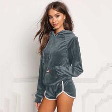 Hooded Women Loose Solid Tracksuits Winter Long Sleeve Sweatshirts+Shorts Set 6A