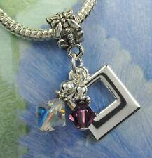 Crystal Square Dangle Charm Beads w Swarovski Elements European Style PICK